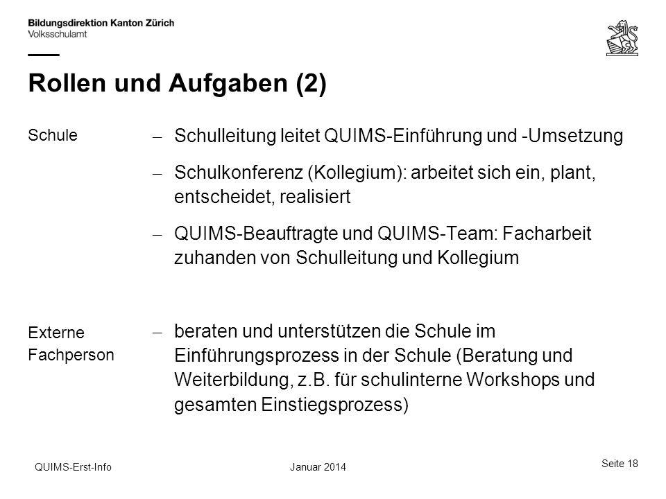 Rollen und Aufgaben (2) Schule Externe Fachperson Schulleitung leitet QUIMS-Einführung und -Umsetzung.