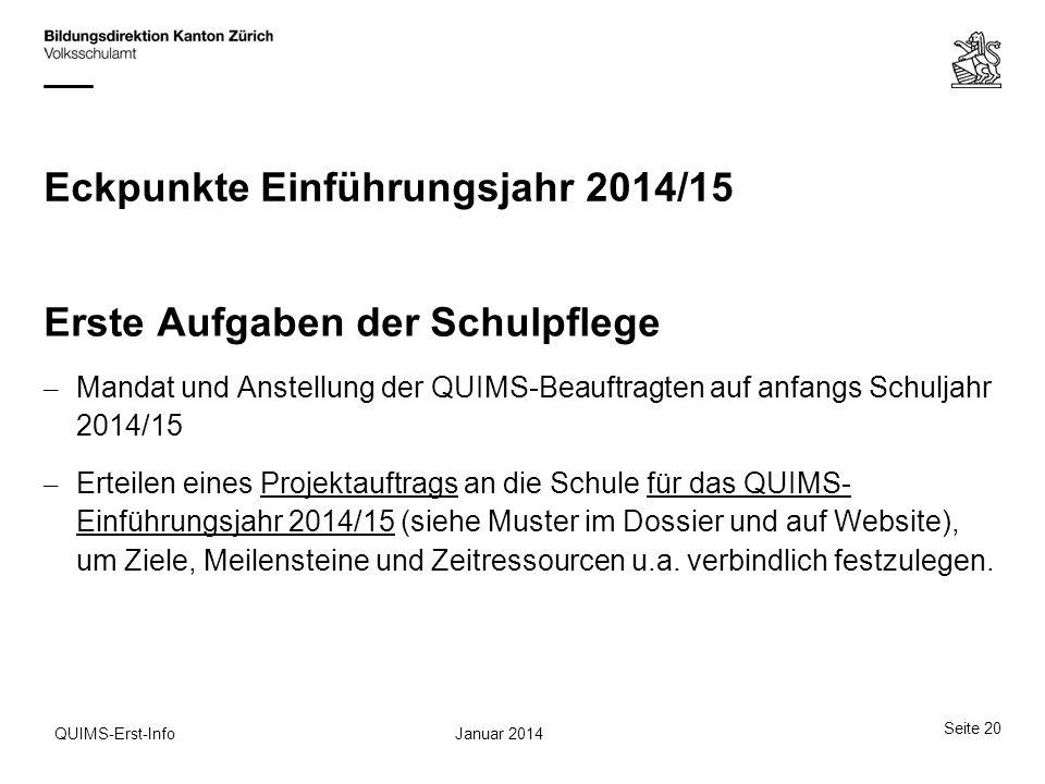 Eckpunkte Einführungsjahr 2014/15