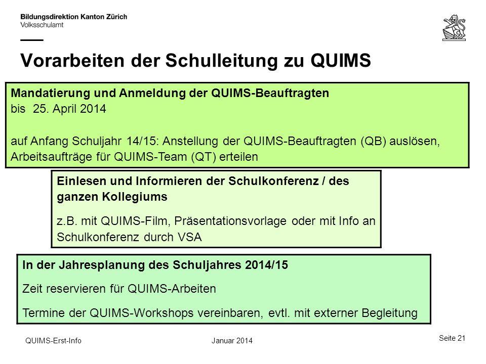 Vorarbeiten der Schulleitung zu QUIMS