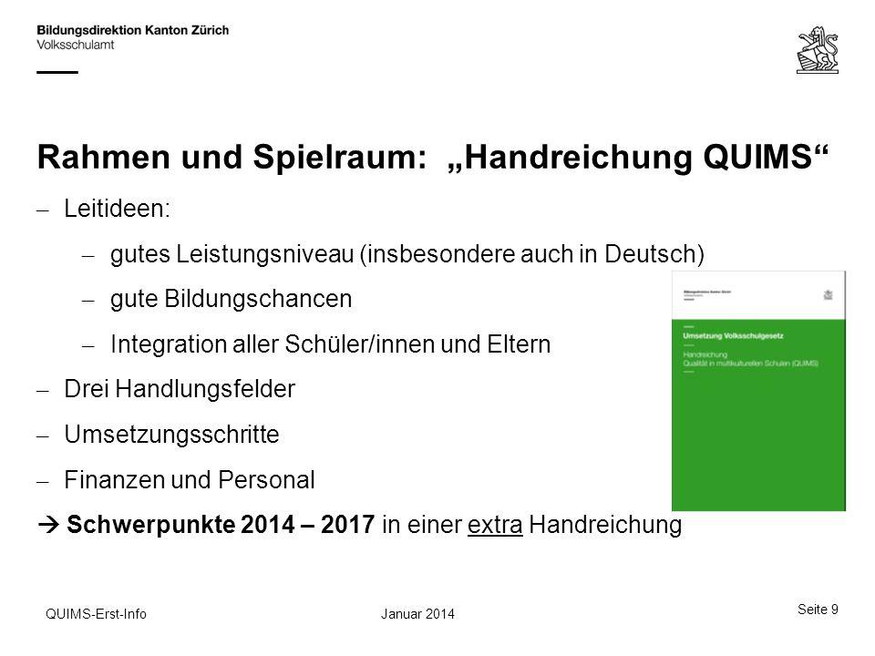 """Rahmen und Spielraum: """"Handreichung QUIMS"""