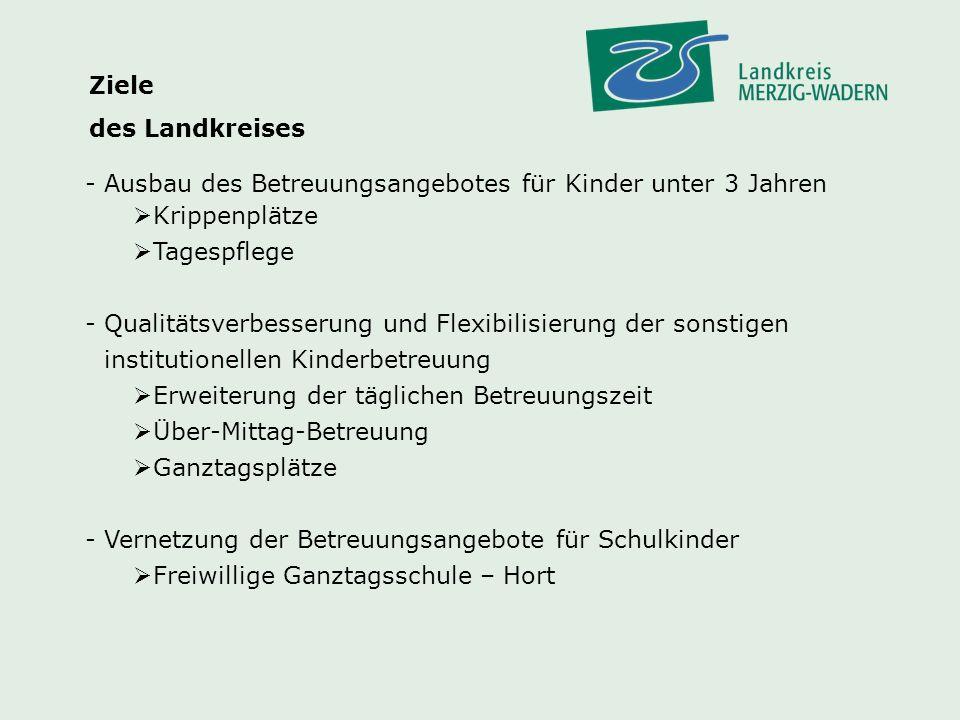 Ziele des Landkreises. Ausbau des Betreuungsangebotes für Kinder unter 3 Jahren. Krippenplätze. Tagespflege.