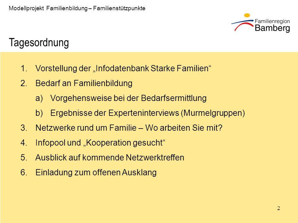 """Tagesordnung Vorstellung der """"Infodatenbank Starke Familien"""