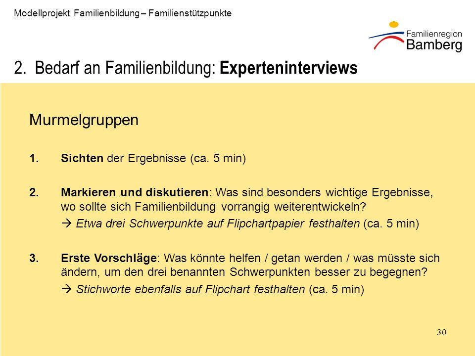 2. Bedarf an Familienbildung: Experteninterviews