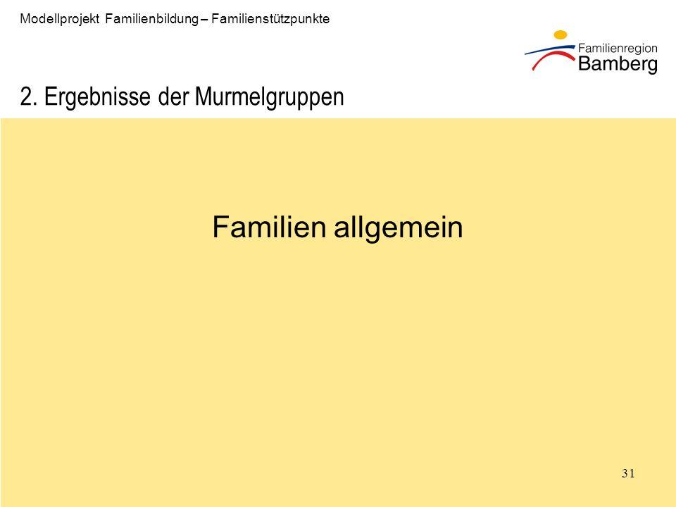 Familien allgemein 2. Ergebnisse der Murmelgruppen