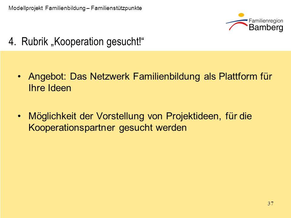 "4. Rubrik ""Kooperation gesucht!"