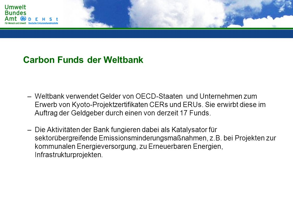Carbon Funds der Weltbank
