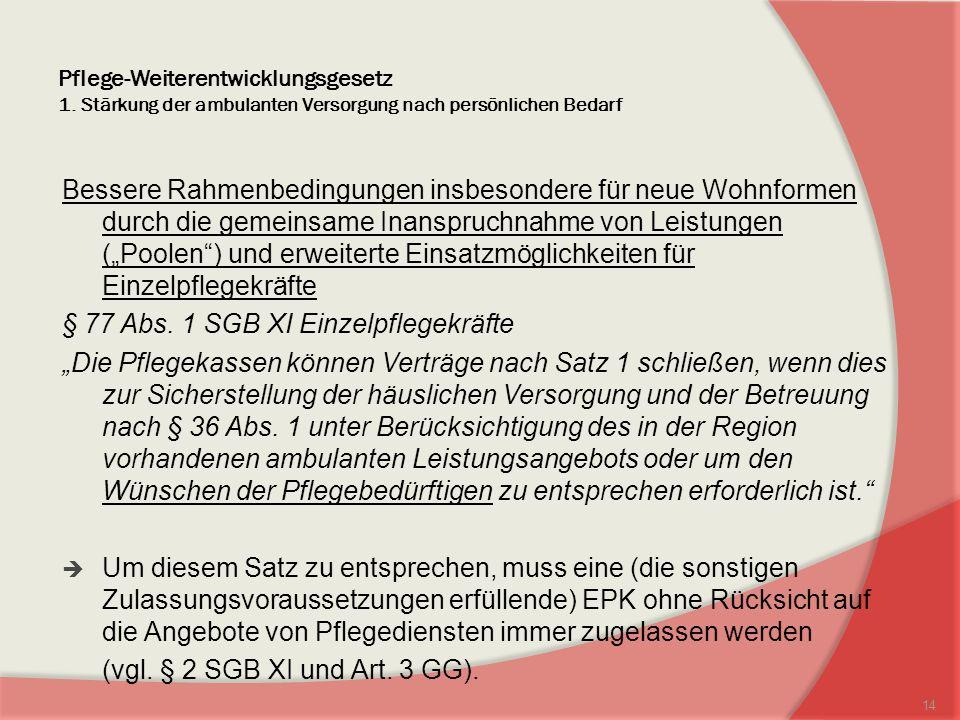§ 77 Abs. 1 SGB XI Einzelpflegekräfte