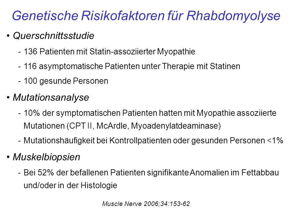 Genetische Risikofaktoren für Rhabdomyolyse