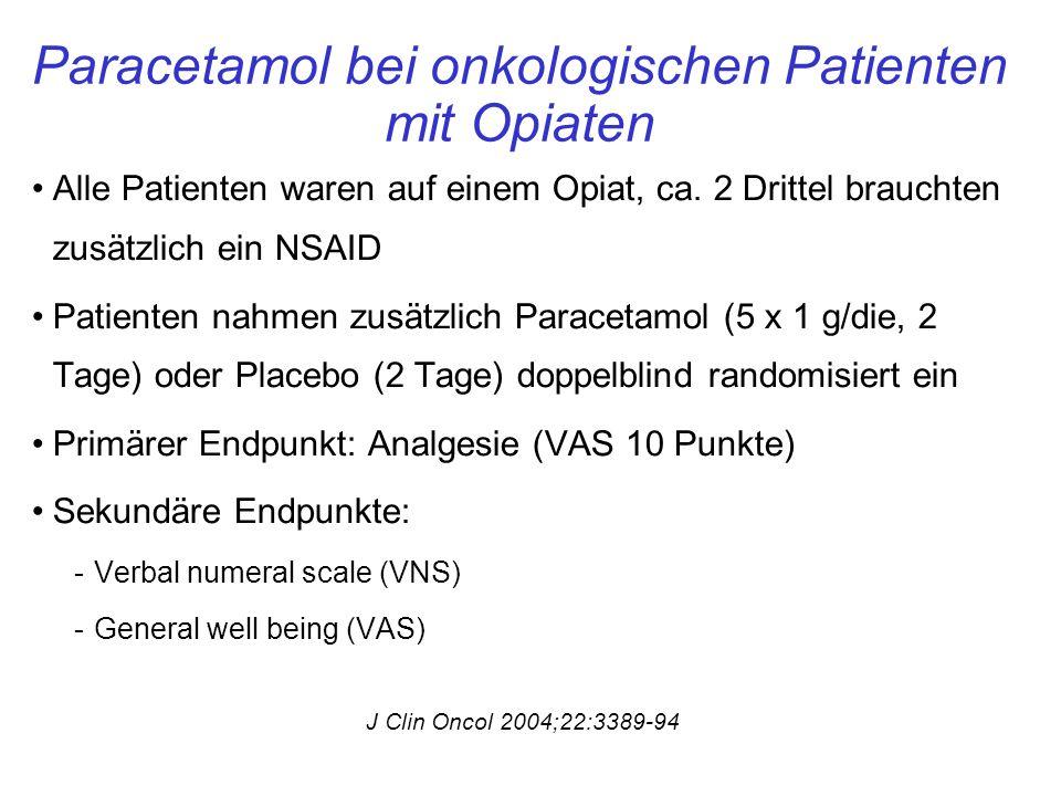 Paracetamol bei onkologischen Patienten mit Opiaten