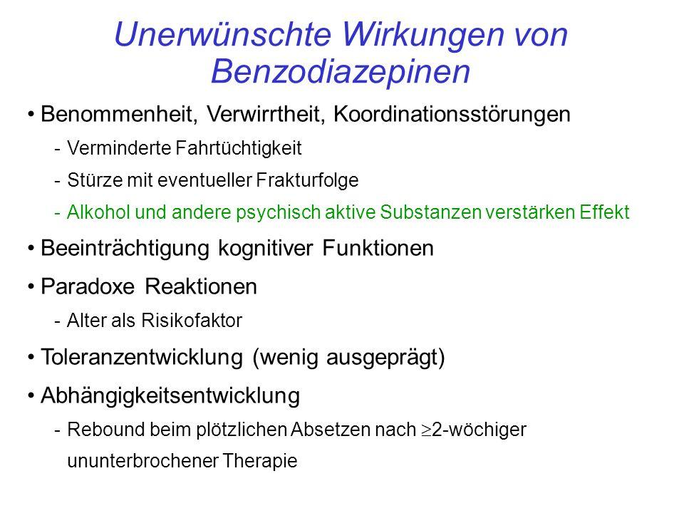 Unerwünschte Wirkungen von Benzodiazepinen