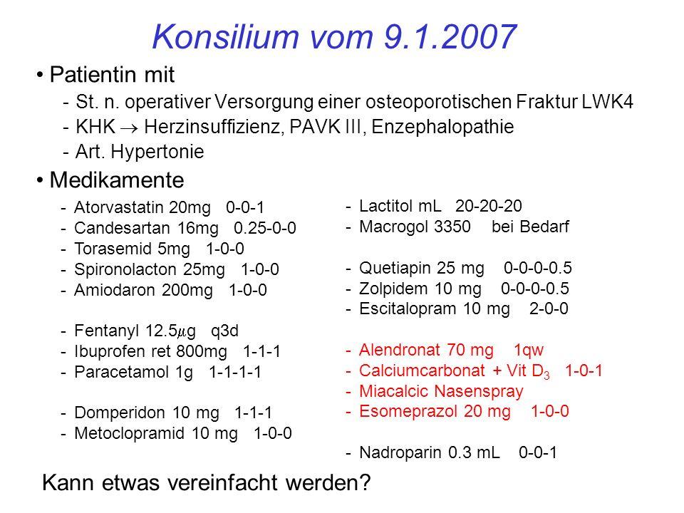 Konsilium vom 9.1.2007 Patientin mit Medikamente