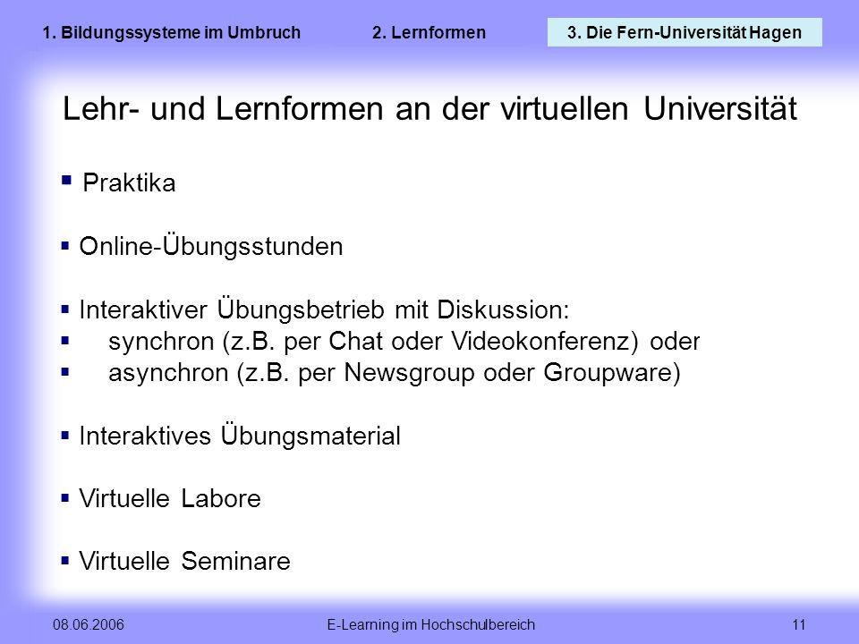 Lehr- und Lernformen an der virtuellen Universität