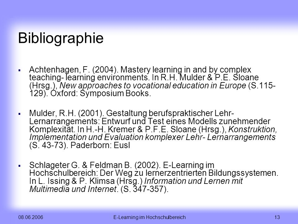 E-Learning im Hochschulbereich
