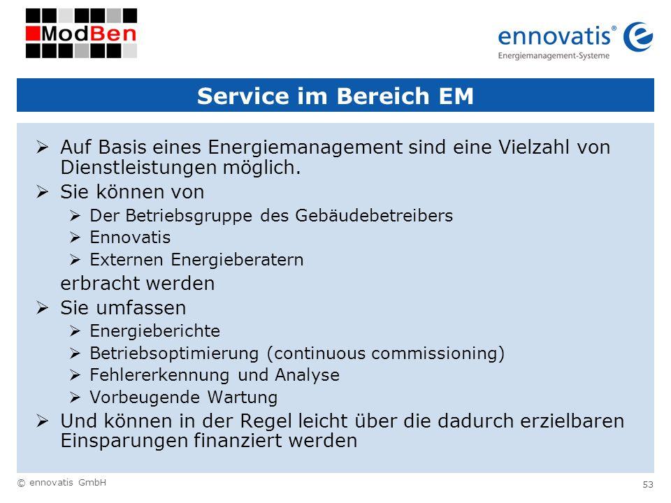 Service im Bereich EM Auf Basis eines Energiemanagement sind eine Vielzahl von Dienstleistungen möglich.