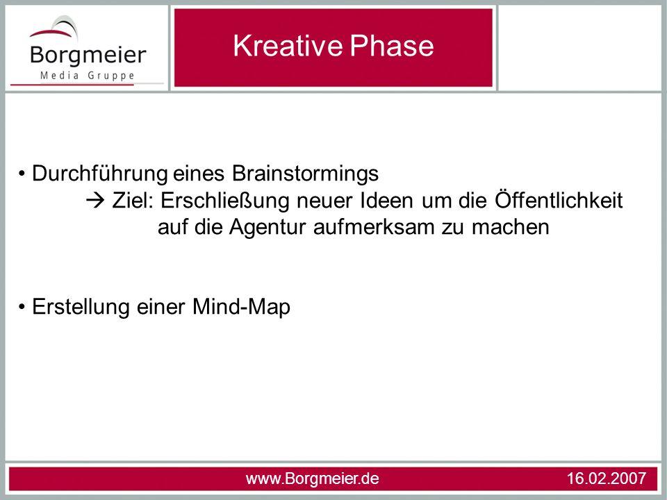 Kreative Phase Durchführung eines Brainstormings  Ziel: Erschließung neuer Ideen um die Öffentlichkeit auf die Agentur aufmerksam zu machen.