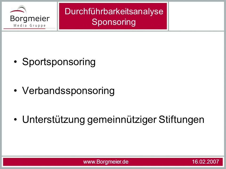 Durchführbarkeitsanalyse Sponsoring
