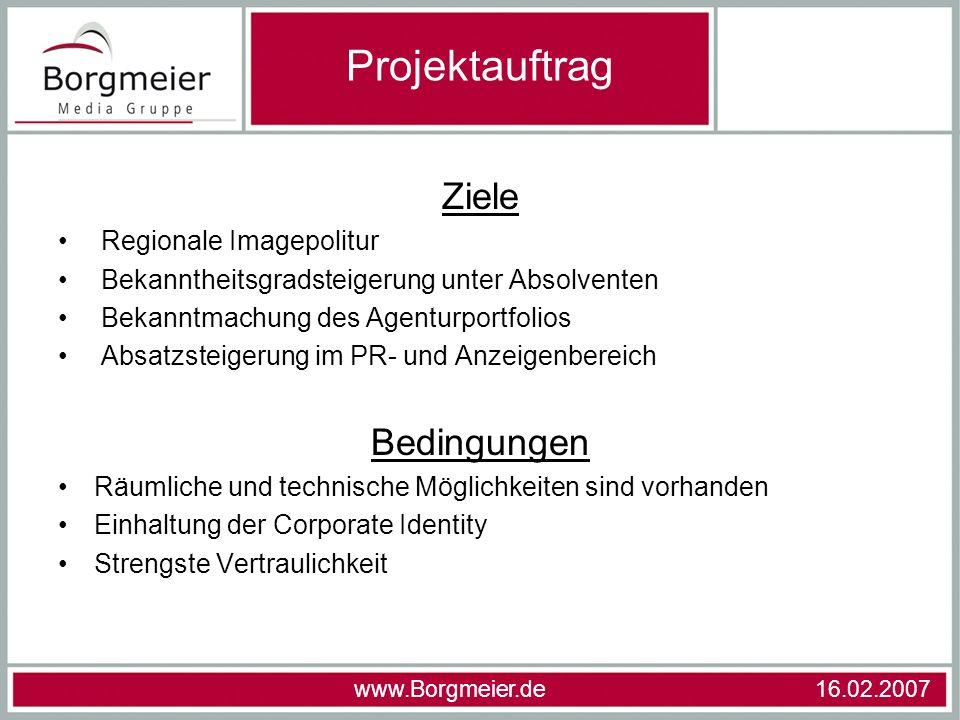 Projektauftrag Ziele Bedingungen Regionale Imagepolitur