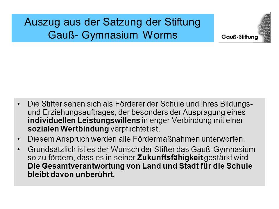 Auszug aus der Satzung der Stiftung Gauß- Gymnasium Worms