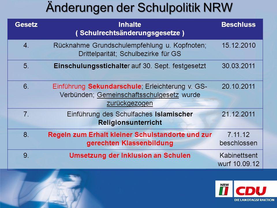 Änderungen der Schulpolitik NRW