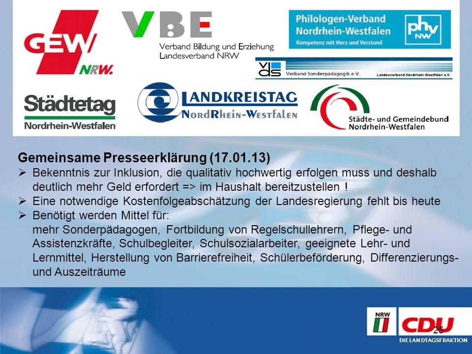 Gemeinsame Presseerklärung (17.01.13)