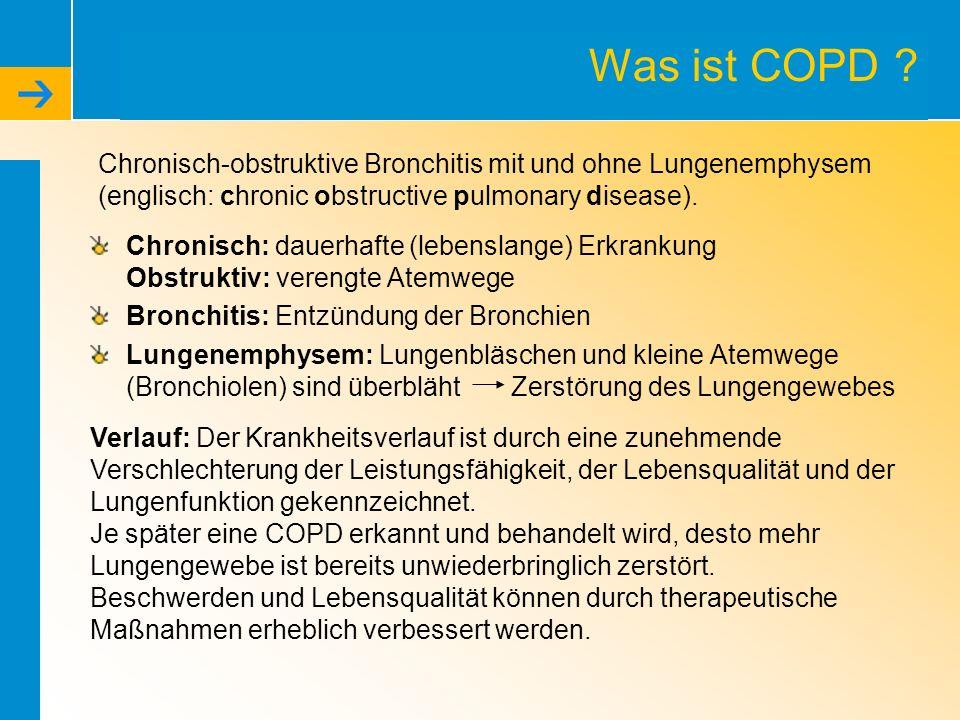 Was ist COPD Chronisch-obstruktive Bronchitis mit und ohne Lungenemphysem (englisch: chronic obstructive pulmonary disease).
