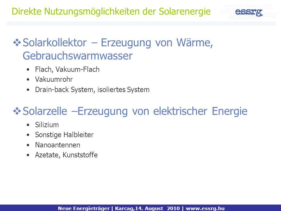 Direkte Nutzungsmöglichkeiten der Solarenergie