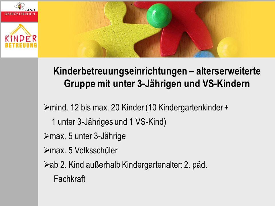 Kinderbetreuungseinrichtungen – alterserweiterte Gruppe mit unter 3-Jährigen und VS-Kindern