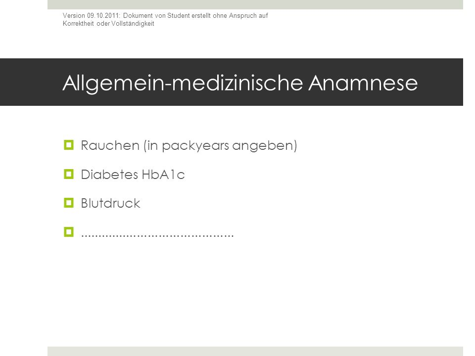 Allgemein-medizinische Anamnese