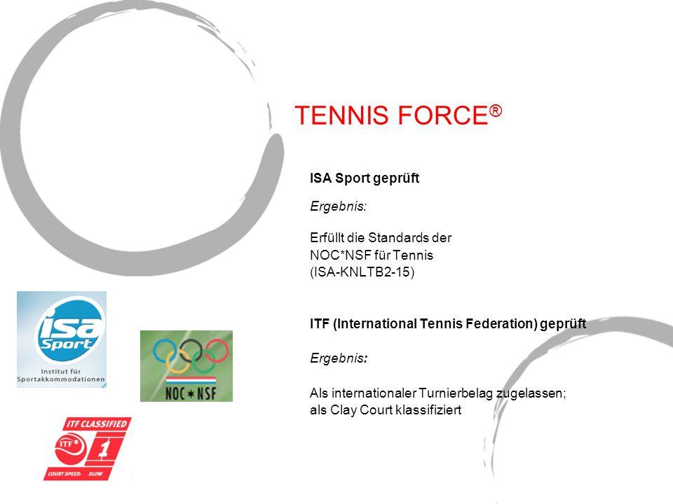 TENNIS FORCE® ISA Sport geprüft Ergebnis: Erfüllt die Standards der
