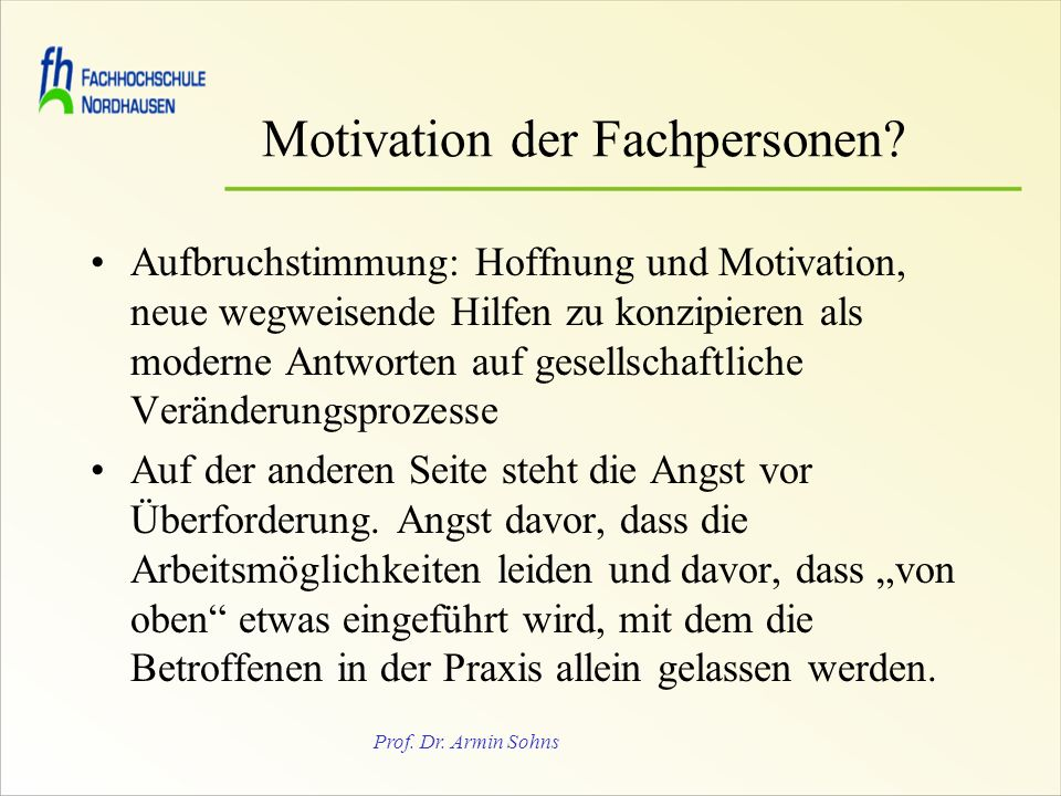 Motivation der Fachpersonen