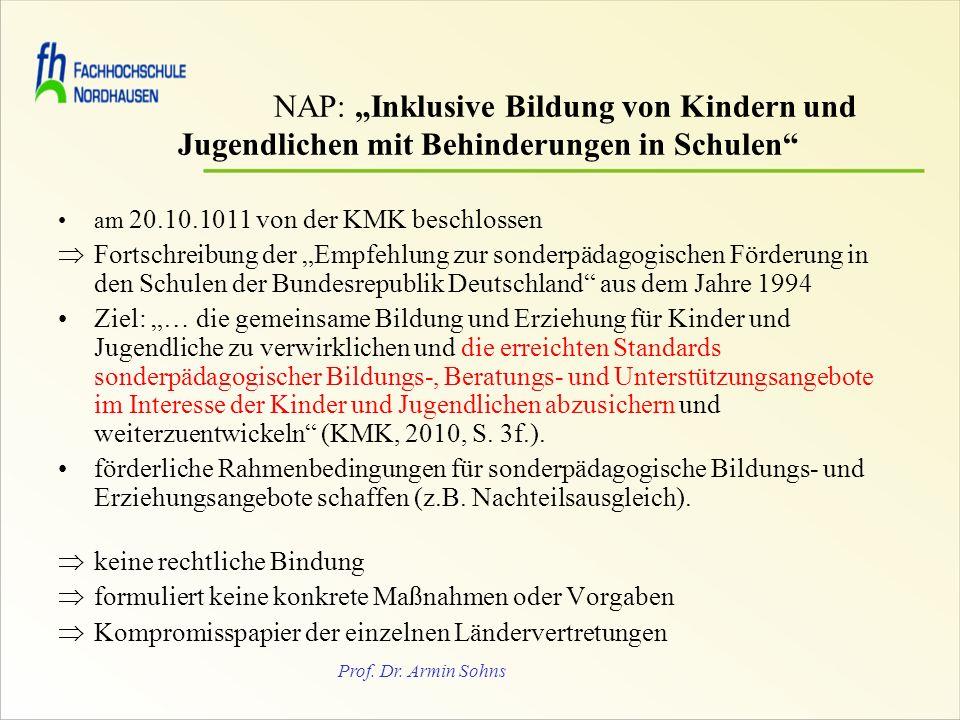 """NAP: """"Inklusive Bildung von Kindern und"""