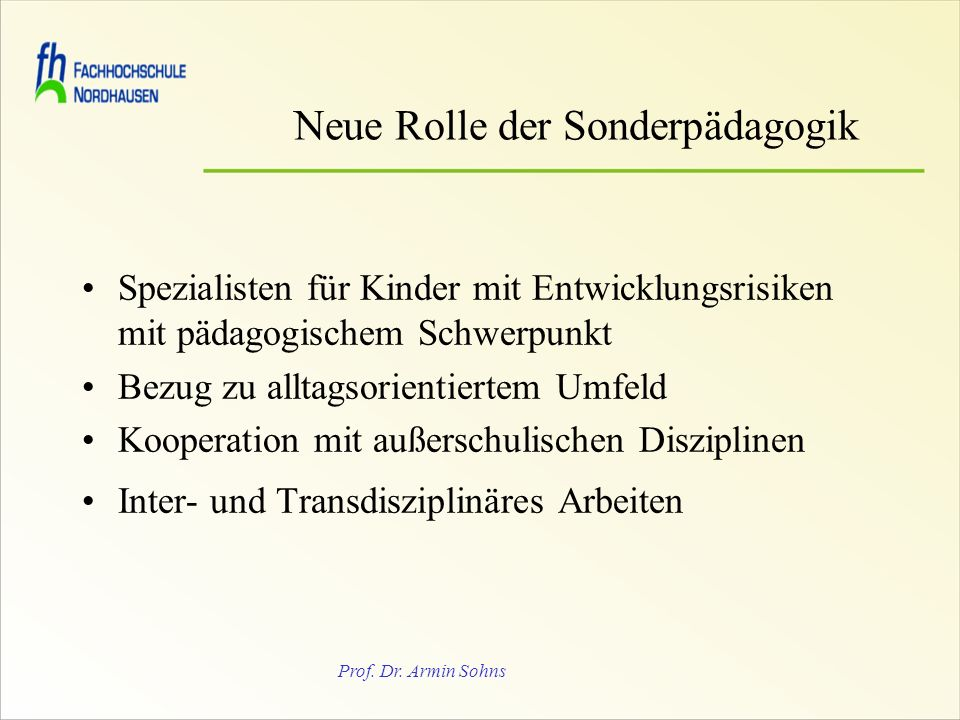Neue Rolle der Sonderpädagogik