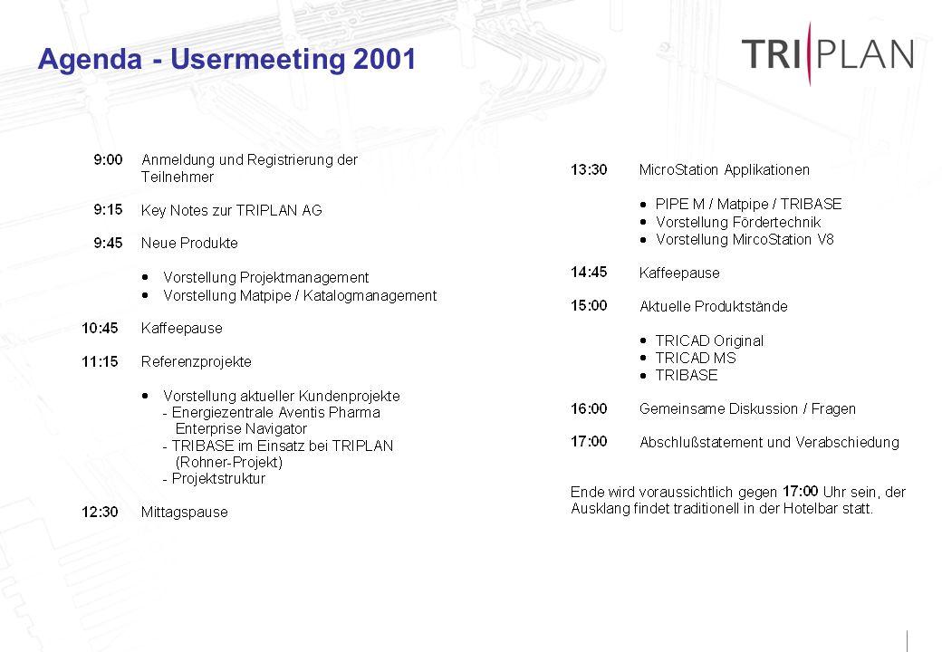 Agenda - Usermeeting 2001