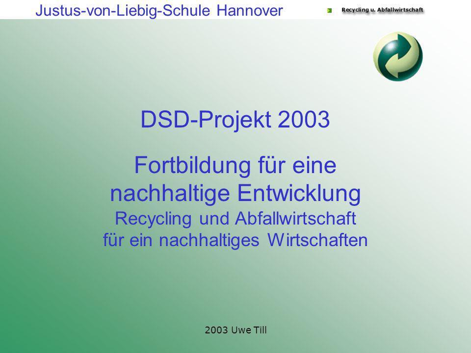 DSD-Projekt 2003 Fortbildung für eine nachhaltige Entwicklung Recycling und Abfallwirtschaft für ein nachhaltiges Wirtschaften.
