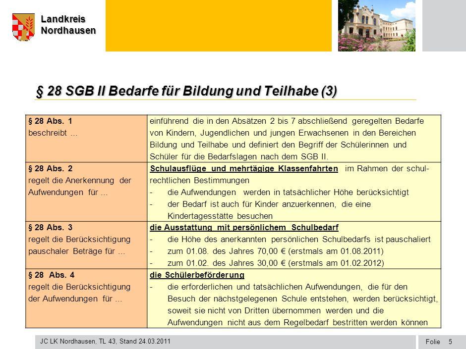 § 28 SGB II Bedarfe für Bildung und Teilhabe (3)