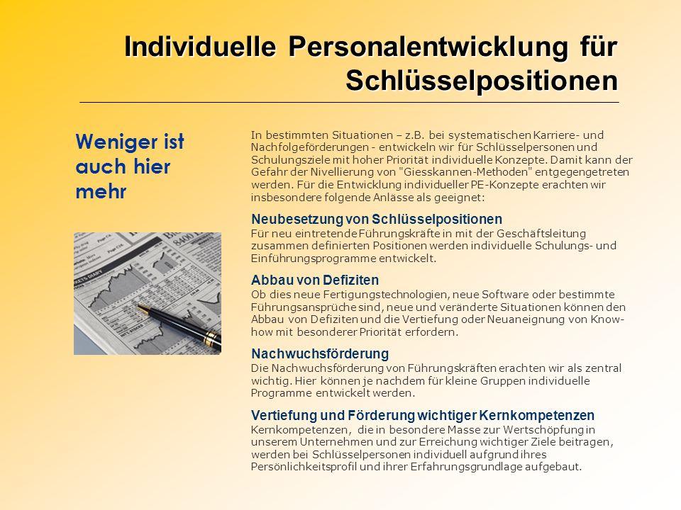 Individuelle Personalentwicklung für Schlüsselpositionen