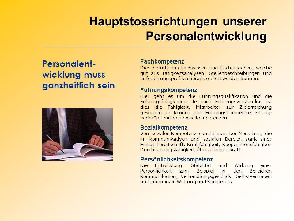 Hauptstossrichtungen unserer Personalentwicklung