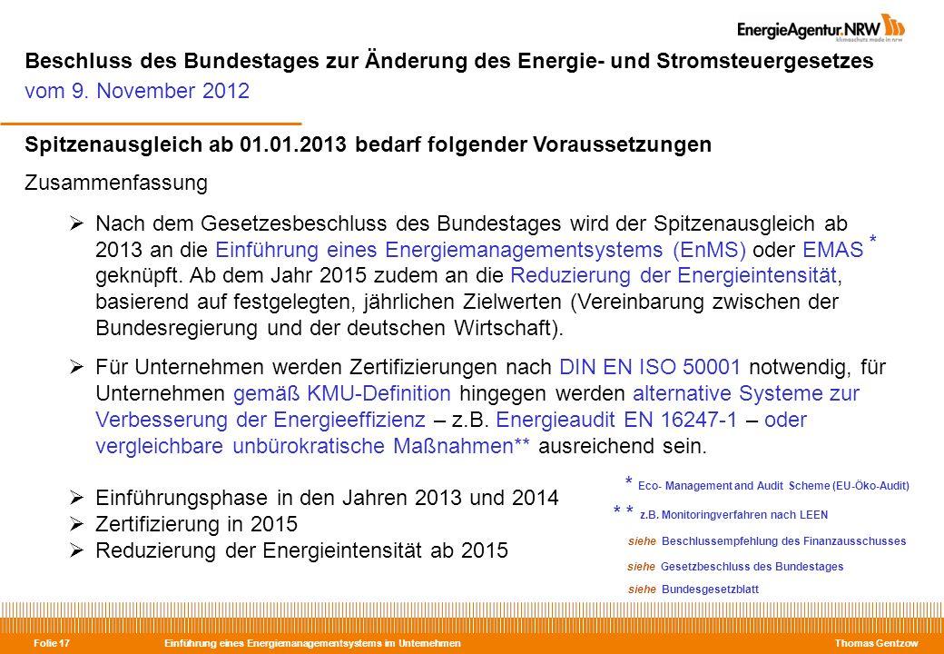 Beschluss des Bundestages zur Änderung des Energie- und Stromsteuergesetzes vom 9. November 2012