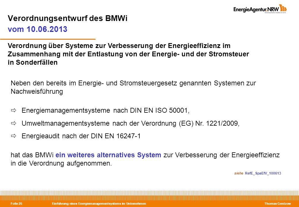 Verordnungsentwurf des BMWi vom 10.06.2013