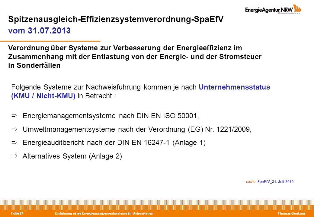 Spitzenausgleich-Effizienzsystemverordnung-SpaEfV vom 31.07.2013