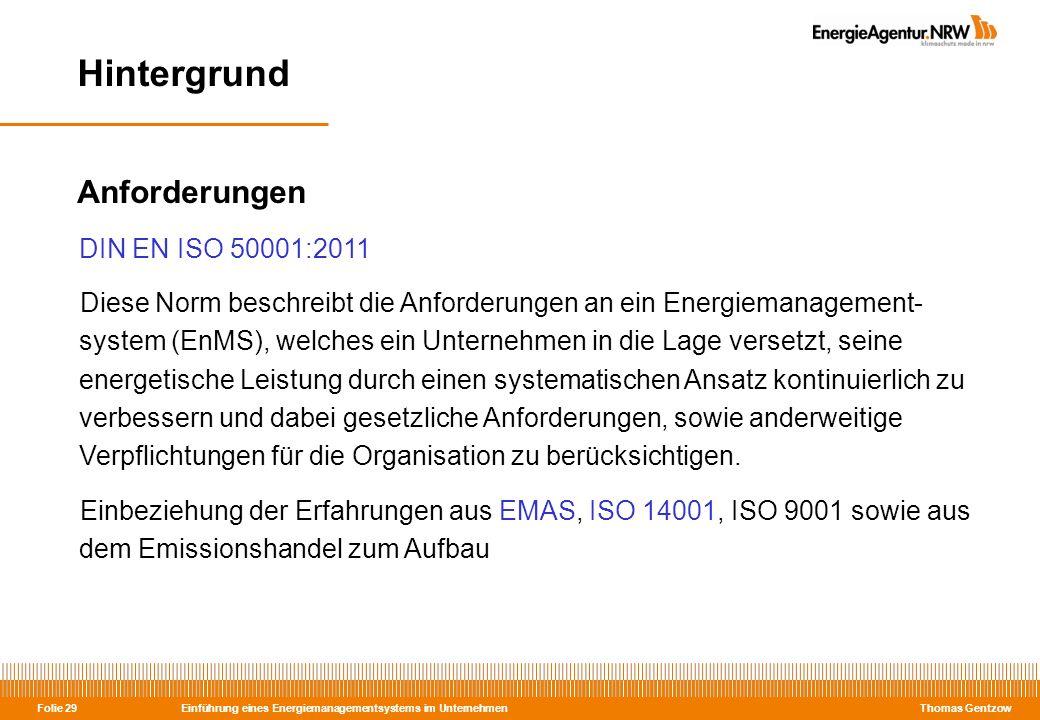 Hintergrund Anforderungen DIN EN ISO 50001:2011