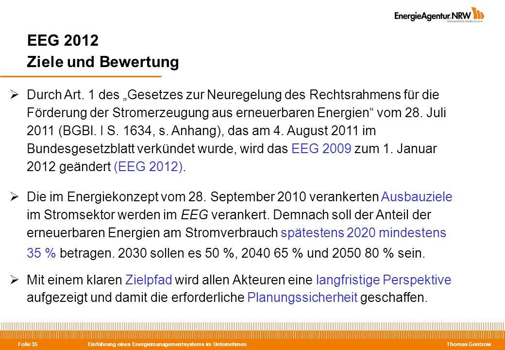 EEG 2012 Ziele und Bewertung