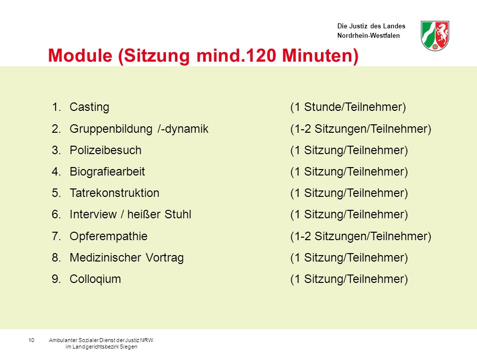 Module (Sitzung mind.120 Minuten)