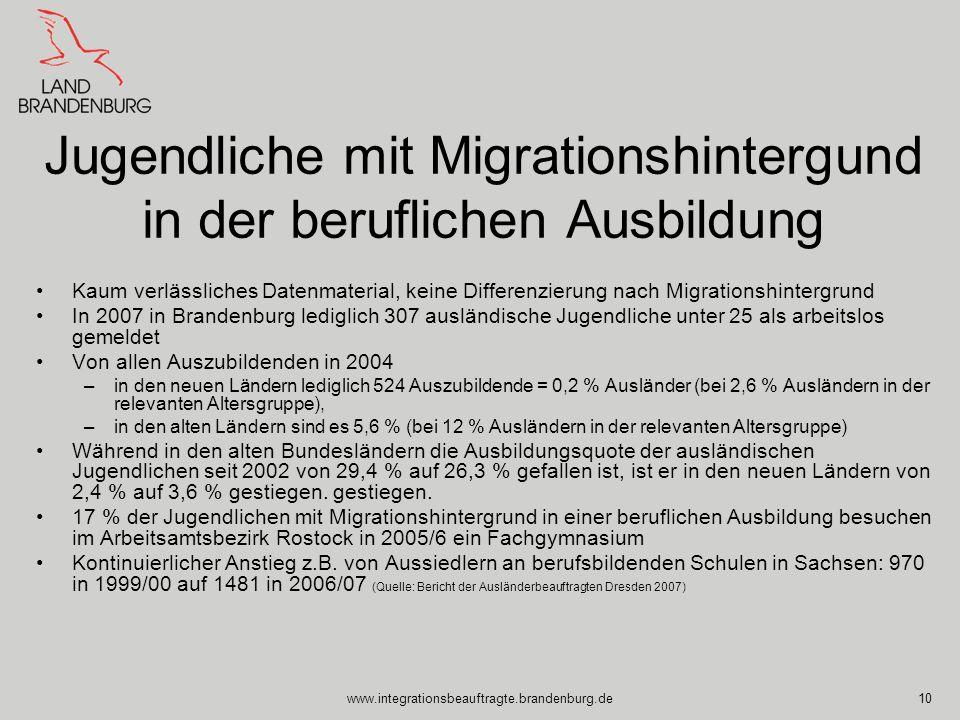 Jugendliche mit Migrationshintergund in der beruflichen Ausbildung