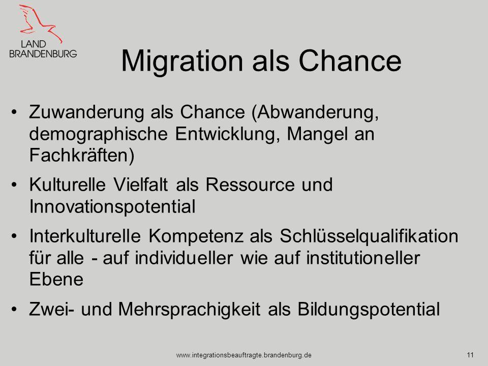 Migration als Chance Zuwanderung als Chance (Abwanderung, demographische Entwicklung, Mangel an Fachkräften)