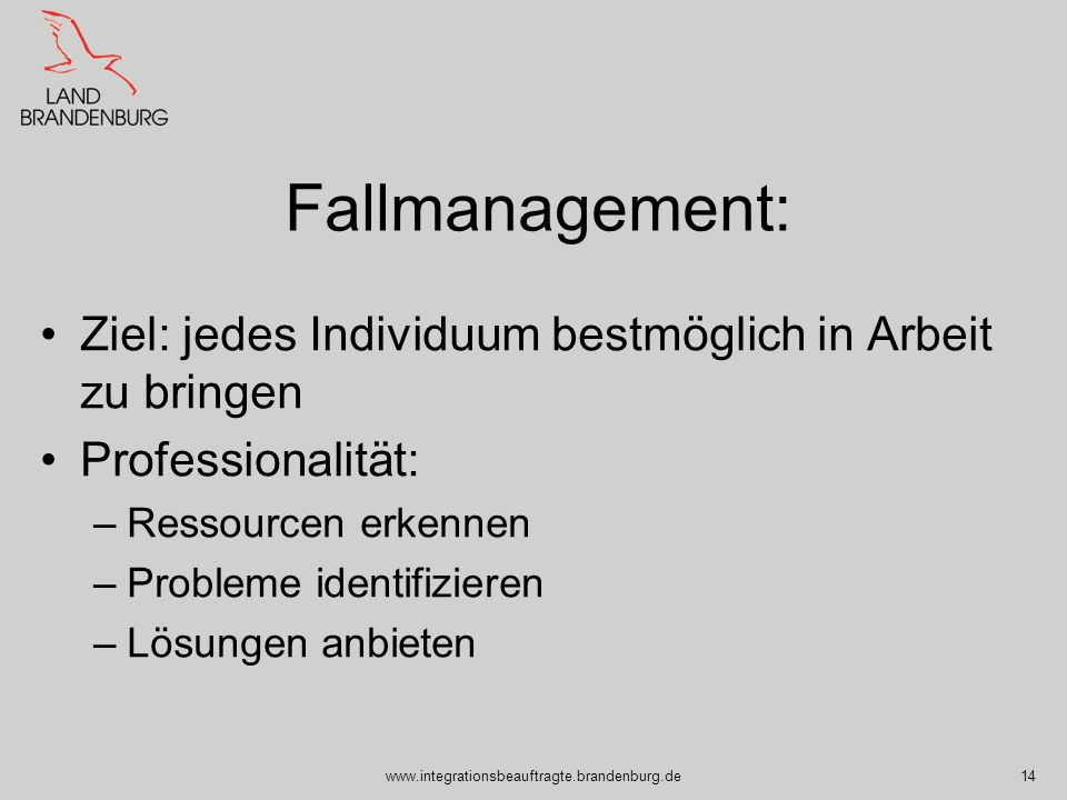 Fallmanagement: Ziel: jedes Individuum bestmöglich in Arbeit zu bringen. Professionalität: Ressourcen erkennen.
