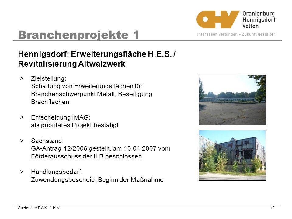 Branchenprojekte 1 Hennigsdorf: Erweiterungsfläche H.E.S. / Revitalisierung Altwalzwerk.