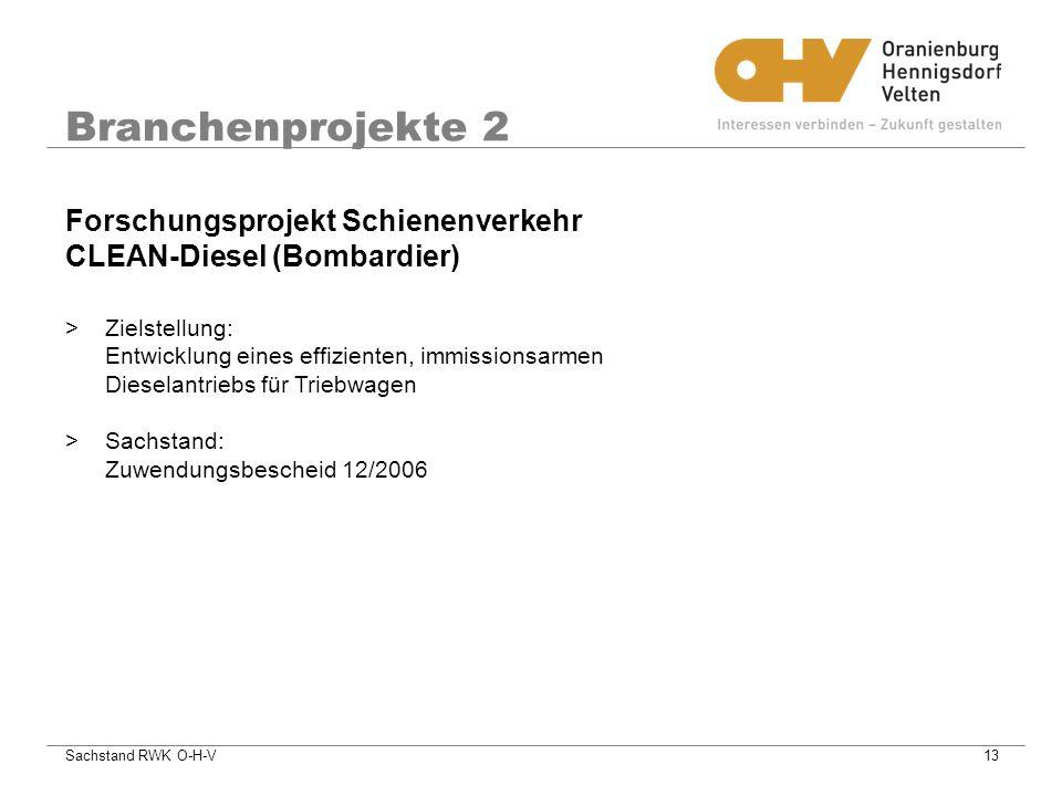 Branchenprojekte 2 Forschungsprojekt Schienenverkehr CLEAN-Diesel (Bombardier)