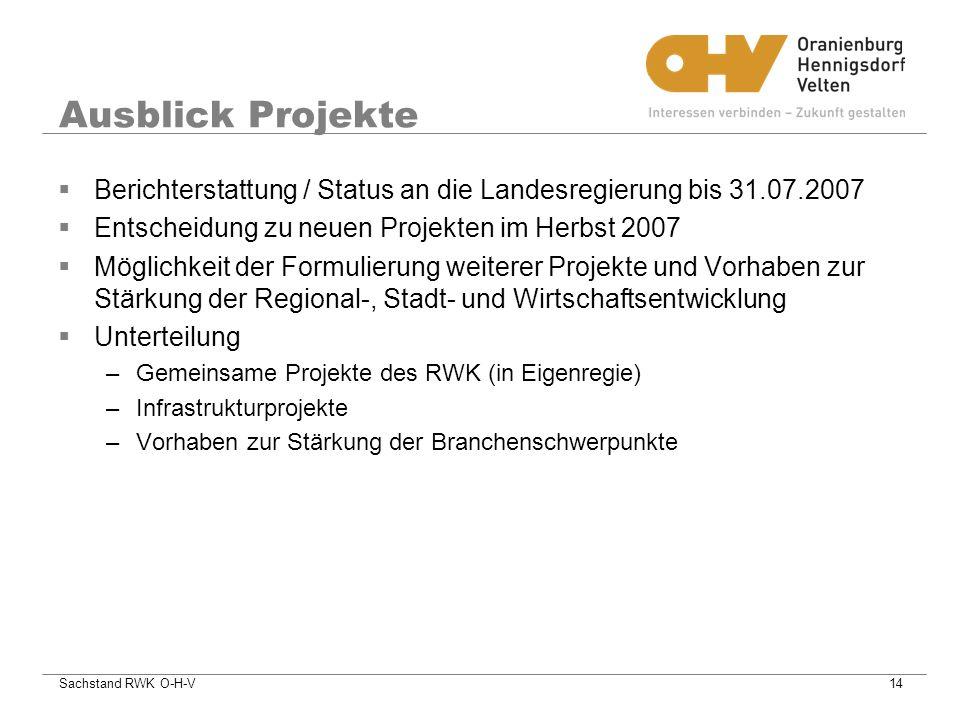 Ausblick Projekte Berichterstattung / Status an die Landesregierung bis 31.07.2007. Entscheidung zu neuen Projekten im Herbst 2007.