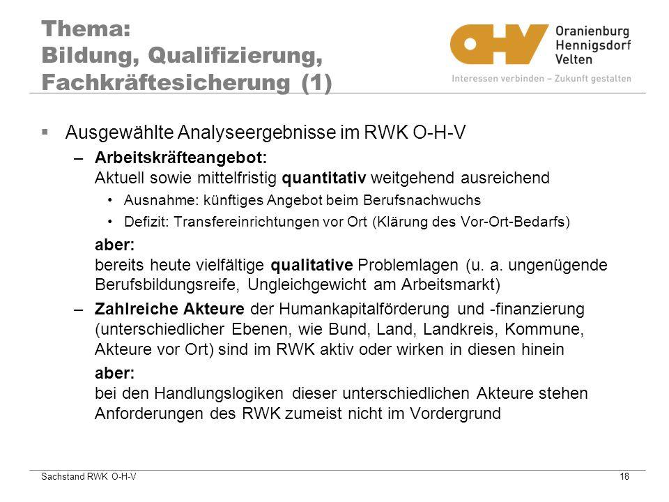 Thema: Bildung, Qualifizierung, Fachkräftesicherung (1)